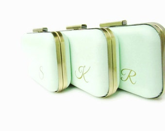 Wedding bags, Mint wedding bags, Mint Bridesmaids, Bridal accessories, mint clutches, gold and mint,  mint weddings  mint bridal party