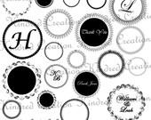 Circle Labels Set 2, Monogram Tags, Circle Frame Digital Embellishment Set 300 dpi printable clipart small business use