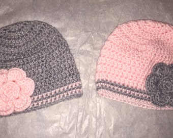2 Crochet Newborn Baby Girl Hats, Pink and Grey, Ready To Be Shipped, Free US Shipping