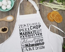 Cooking Typography Screen Print Kitchen Apron