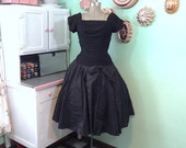 ON SALE Little Black Dress - Black Party Dress - Vintage LBD - Full Skirt - Ruched Bodice - Taffeta Skirt