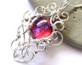 Dragon's Breath Fire Opal Pendant - Sterling Silver Wire Wrapped Necklace - Medieval Elven Elvish Jewelry - Heart of Dragon