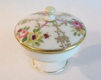 Nippon Porcelain Trinket, Collar Button Box w/ Floral & Gold Design
