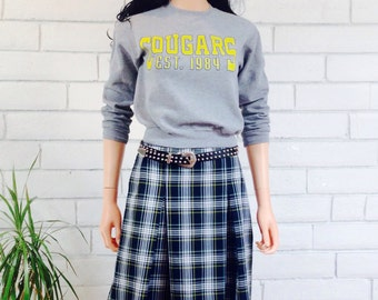 90's SCHOOLGIRL PLAID SKIRT vintage mini skirt pleated navy blue punk rock M