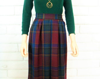 80's PLAID MIDI SKIRT vintage jewel toned preppie school girl secretary wool size xs S