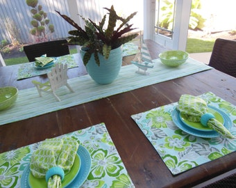 Fabric Beach Placemats Tropical Flower Placemats - Set of Four - Reversible - Shades of Green and Aqua Blue - Perfect Summer Beach Placemats
