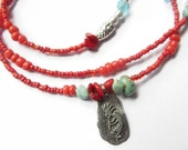 Waistbeads, Native American Kokopelli Turquoise and Coral Waist Beads