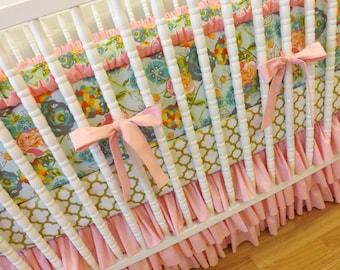 Girl Crib Bedding- Shabby Chic Baby Bedding- MADE TO ORDER-- Shabby Chic Baby Girl Crib Bedding