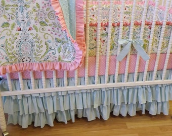 Girl Crib Bedding- Baby Bedding- MADE to ORDER- Girl Crib Bedding Set- 4 piece Baby Bedding Set- Lovebird Damask