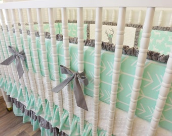 Girl Crib Bedding- Mint and Gray Baby Bedding- MADE TO ORDER- Deer and Arrow Bedding