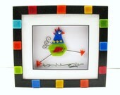 Bright whimsical running happy rooster chicken fused and flameworked glass in shadowbox party
