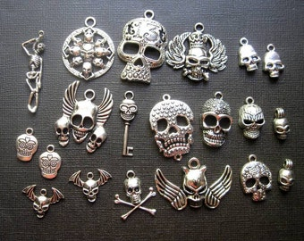 Skull Charms Pendants Collection in Silver Tone - C2262