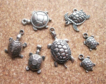 Turtle Charm Collection in silver tone - C2293