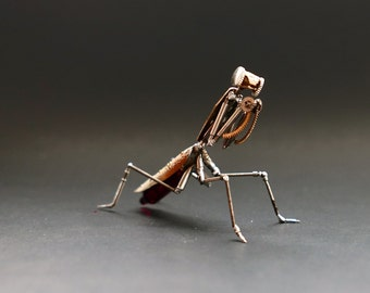 "Watch Parts Praying Mantis ""Mantis No 34"" Sculpture Recycled Mechanical Clockwork Mantis Mantid Watch Stems Faces Insect A Mechanical Mind"