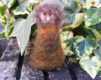 Woodland Pixie - 'Elm' - needlefelted pixie or gnome with acorn cup hat