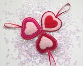 RED FELT HEARTS - handcrafted from 100% wool felt - Valentine's decorations
