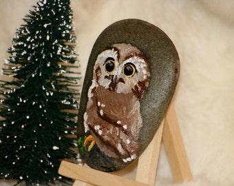 Owl Oil Painting on Rock - Smooth Stone Artwork - Original