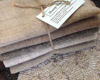 Sheep Bundle, Naturals and Neutrals, Wool for Rug Hooking and Applique, 5) Fat Eighths, W169