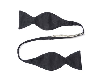 mens vintage bow tie black satin bow tie self tie silk bowtie adjustable self tie bow tie vintage menswear 70s 1970