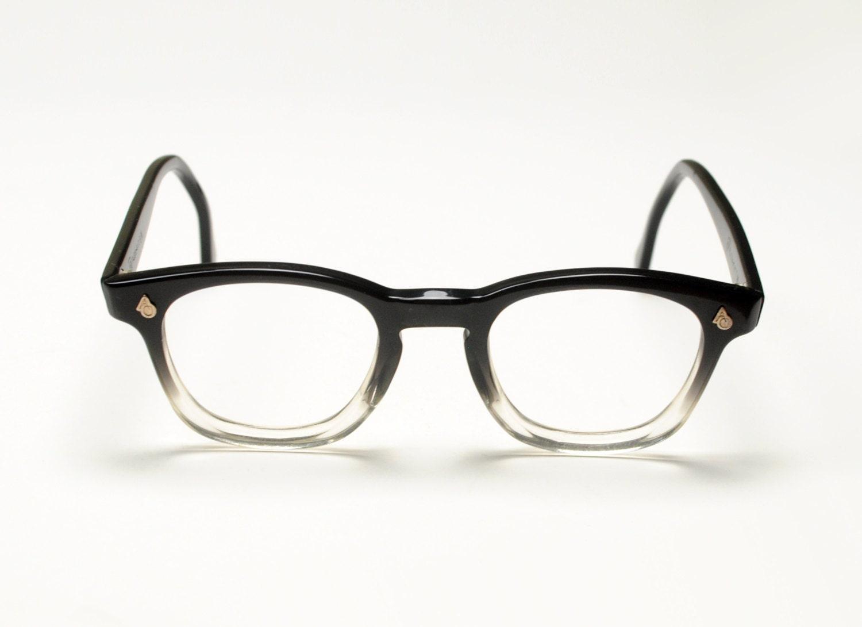 vintage 50s 60s eyeglasses wayfarer glasses black clear plastic fade ...