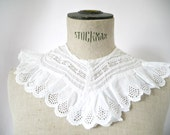 Antique  French Lace Collar. French Handmade Lace Collar. Button Closure.