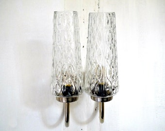 French Wall Sconces 1960s Mid Century Wall Lamps with Ice Glass Shades