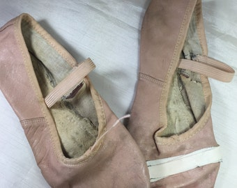 Vintage Pink Leather Ballet Shoes  -Soft Leather - For Decor, Shadow Box or Photography Prop - Dance Studio Decor - Shabby, Loved Condition