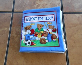 A Sport For Teddy Bear Quiet Soft Cloth Baby Toddler Story Book Handmade Ready to Read