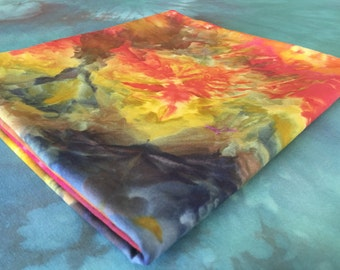 Ice Dyed Yellow, Fuchsia, Purple with Variations 100% Cotton Fabric - 1 Yard