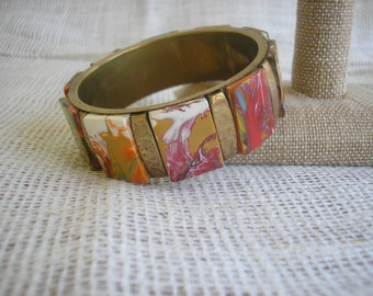 Vintage Brass Bracelet Brass w/Marbleized Rectangle Cabochons Unique Costume Jewelry Retro Jewelry Vintage Chic Vintage in Paradise