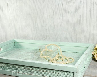 Shabby chic serving tray, wood and wicker serving tray, coffee table tray, ottoman tray, distressed light turquoise