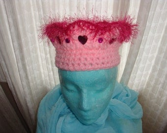 """Light Pink Crochet Crown with Deep Pink Eyelash Trim and Heart  or Butterfly """"Gems"""""""