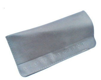 Vintage Gray Soft Case Eyeglasses Geoffrey Beene Vinyl Cover Eyewear Holder Grey Plastic Pouch Designer Slip On Slip In Signature Sunglass