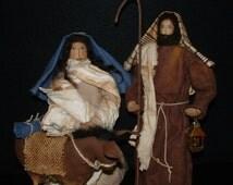 Primitive Folk Art Primitive Soft Sculpture Christmas Nativity Set Dolls