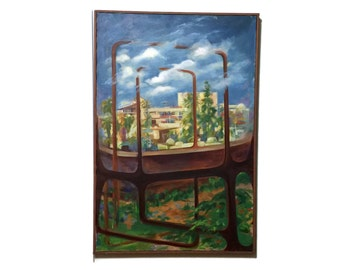 Vintage Surrealist Oil Painting, architectural, abstract, landscape, signed en verso Beverly Hall 1975