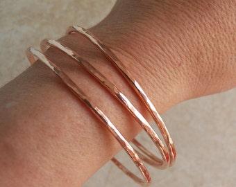 Copper Bangle Bracelet - 10 gauge 2.6mm - Custom personalized size - Handcrafted