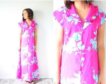 20% OFF BIRTHDAY SALE Retro neon pink floral 60's dress // pink floral maxi dress // Hawaiian floral dress // summer button maxi dress // ru