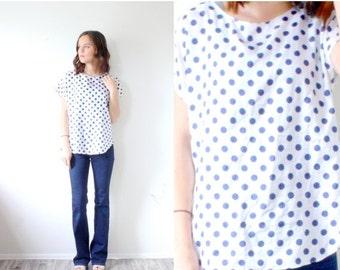 20% OFF VALENTINES SALE Vintage Boho polka dot blouse // blue polka dot top // retro polka dot shirt // silky top // slouchy polka dot shirt