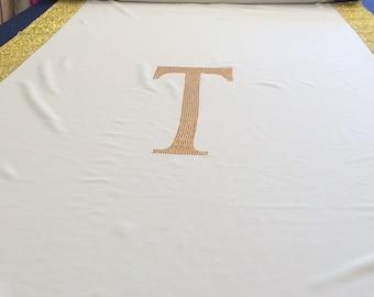 Custom Made Champagne Gabardine Aisle Runner 25ft with Gold Rhinestone Sparkle border and Monogram Initial