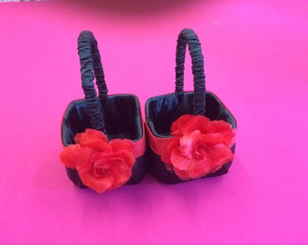 Black Satin with Red Satin Accent and Red Flower Girl Baskets Set of 2