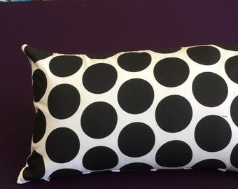 Black and White Premier Prints Polka Dot  Pillow Lumbar  12 x20  with Insert Included