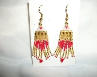 Hearts Red n Gold Earrings