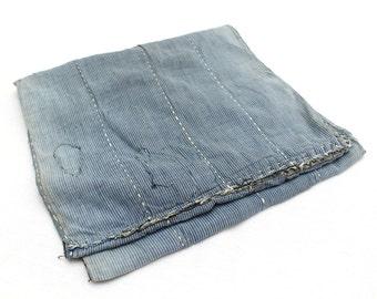 Japanese Antique Boro Textile. Indigo Ikat Kasuri Cotton with Sashiko (Ref: 125)