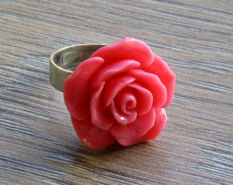 Coral red flower ring