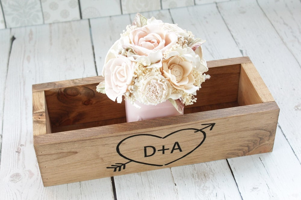 Rustic Wood Planter Box Centerpiece Wedding Home Decor