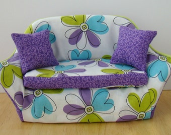 Barbie Furniture - Blue, Green and Purple Daisy Print Living Room Sofa w Purple Trim and Pillows - FREE Shipping to anywhere in the USA