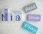 Word Blocks . Dream . Read. Play . Word Block Set.  Modern Nursery. Grey . Lavender. Aqua . Playroom Decor . Nursery Decor