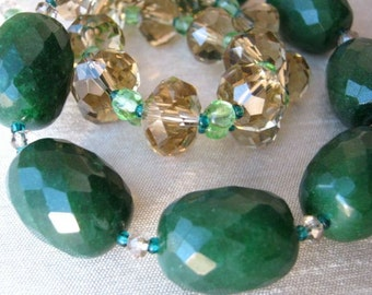 Dark Green and champagne retro necklace & earrings set - forrest green stone, water melon, crystal