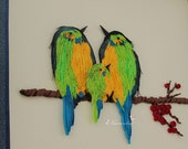 Paper Quilling Bird Family Wall Art, Family of three , Handmade Paper Quilled Birds on a cherry branch,Anniversary gift Reserved for Mukul