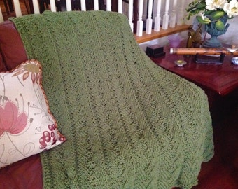 Ready-Made Knit Afghan---Assuring in Forest